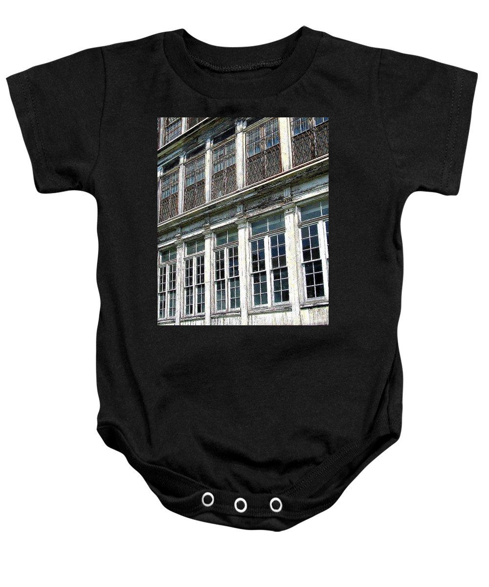 Lunatic Asylum Baby Onesie featuring the photograph Lunatic Asylum Windows by Peter Gumaer Ogden
