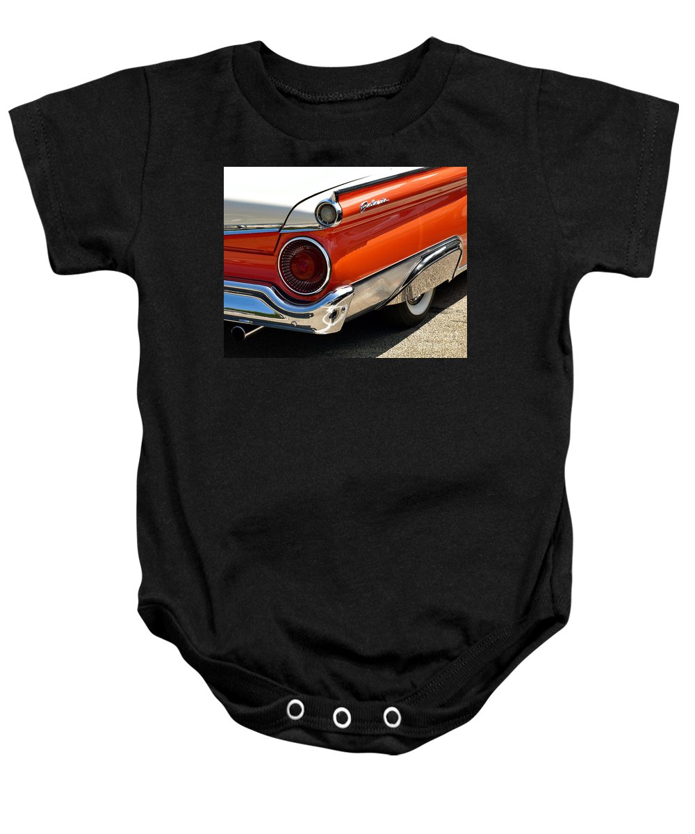 1959 Baby Onesie featuring the photograph Wing And A Skirt - 1959 Ford by John Waclo