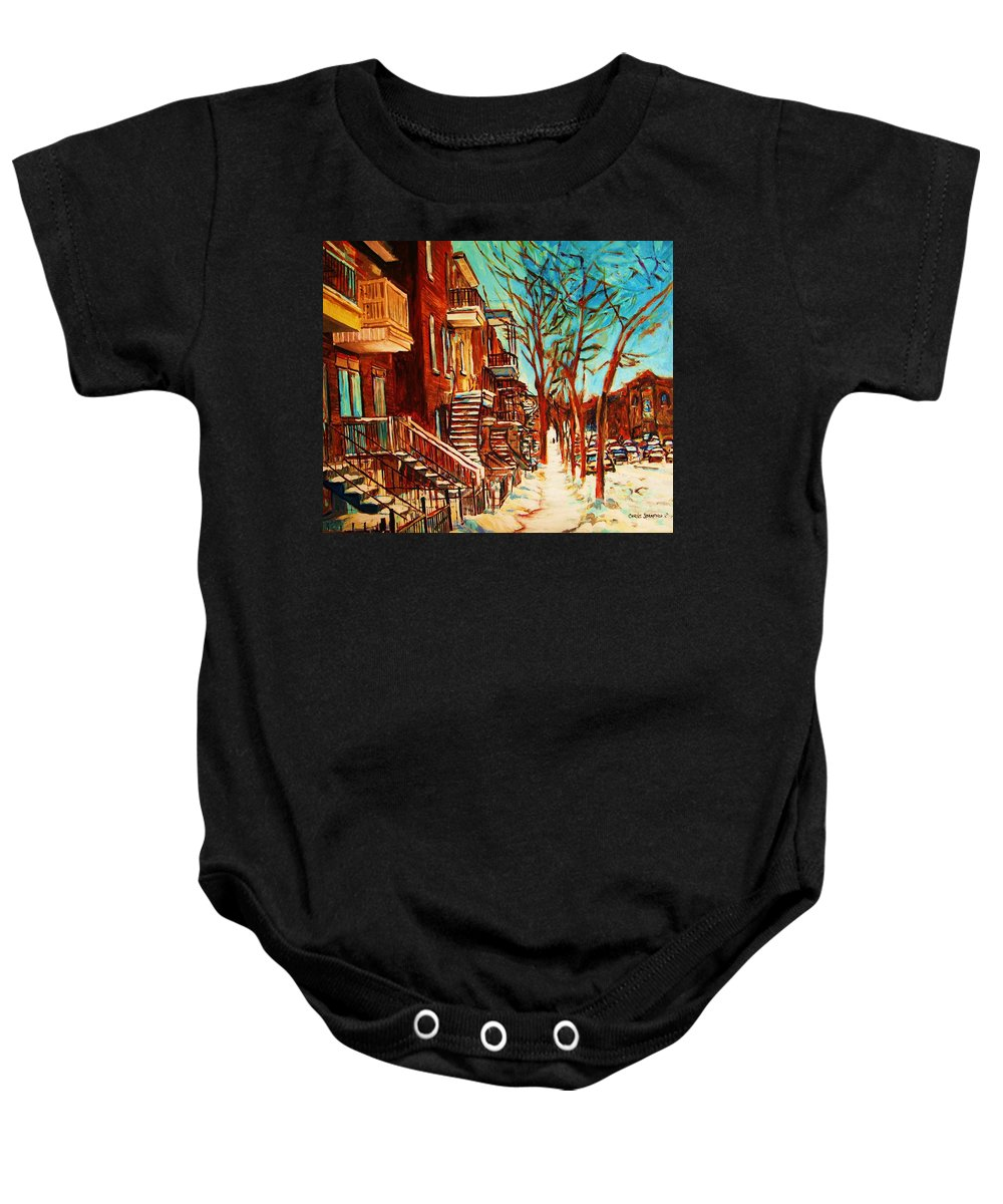 Verdun Paintings By Montreal Street Scene Artist Carole Spandau Baby Onesie featuring the painting Winter Staircase by Carole Spandau