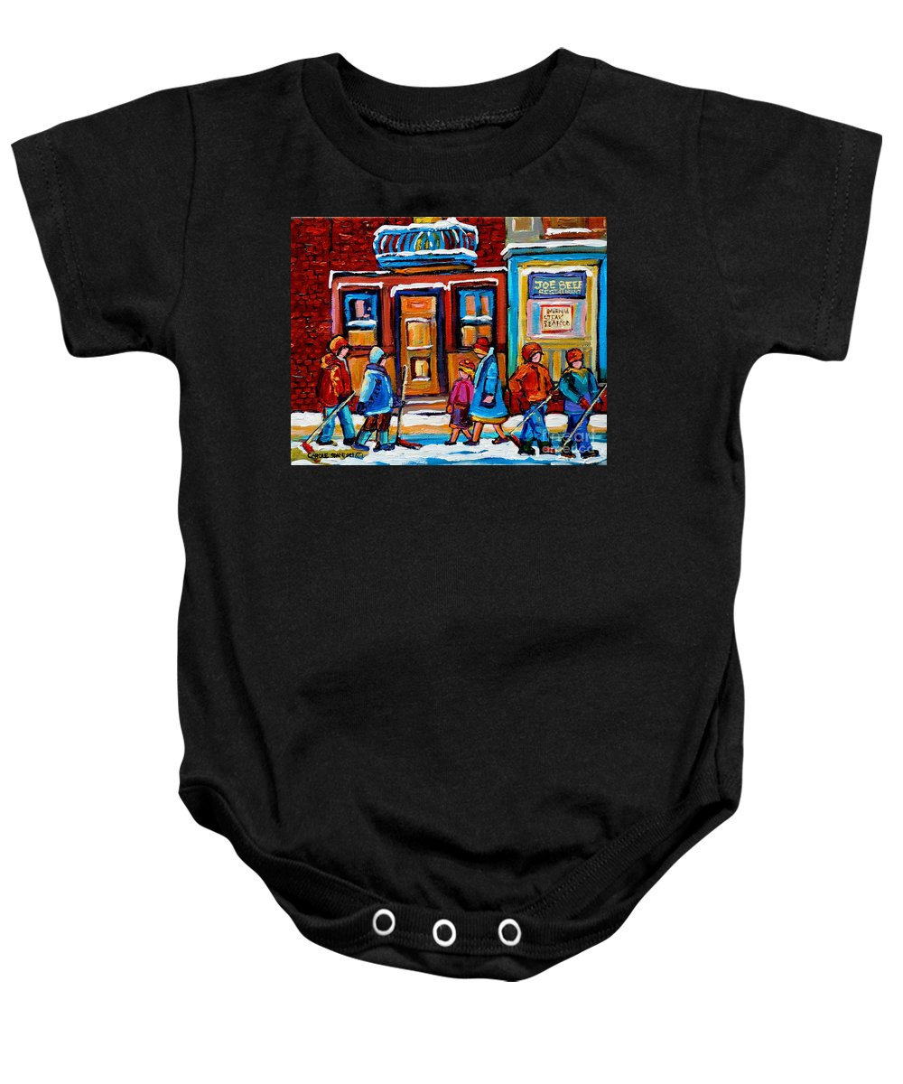 Montreal Baby Onesie featuring the painting Winter Street In Saint Henri by Carole Spandau