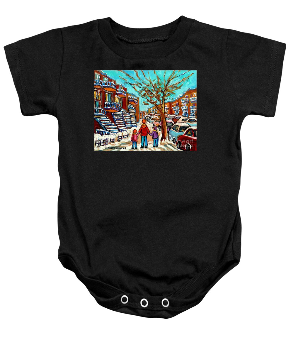 Montreal Baby Onesie featuring the painting Winter Walk Montreal Paintings Snowy Day In Verdun Montreal Art Carole Spandau by Carole Spandau