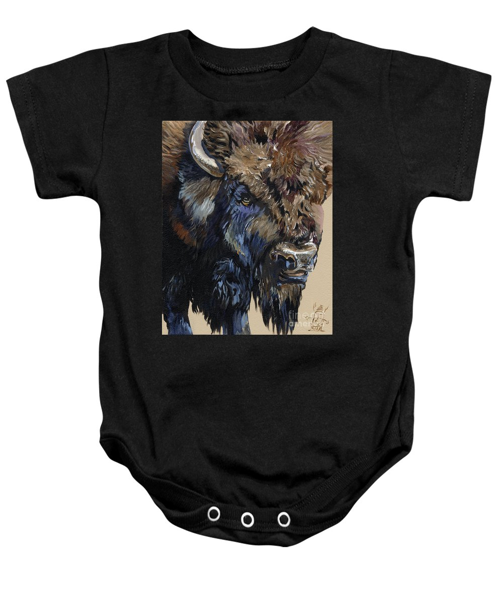 Bison Baby Onesie featuring the painting Wise Plains Drifter by J W Baker
