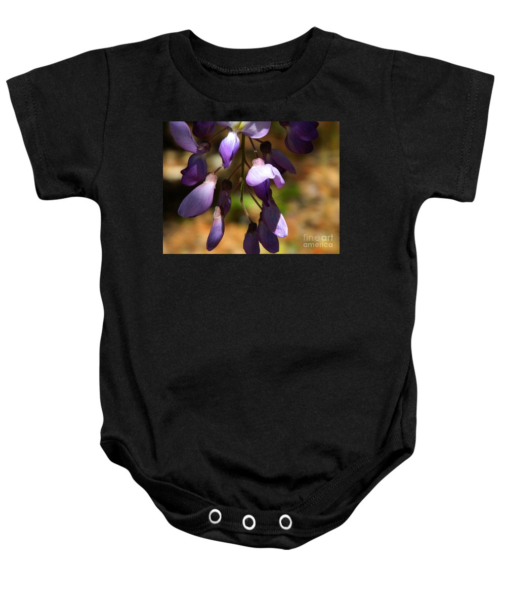 Wisteria Baby Onesie featuring the photograph Wisteria 2 by Andrea Anderegg