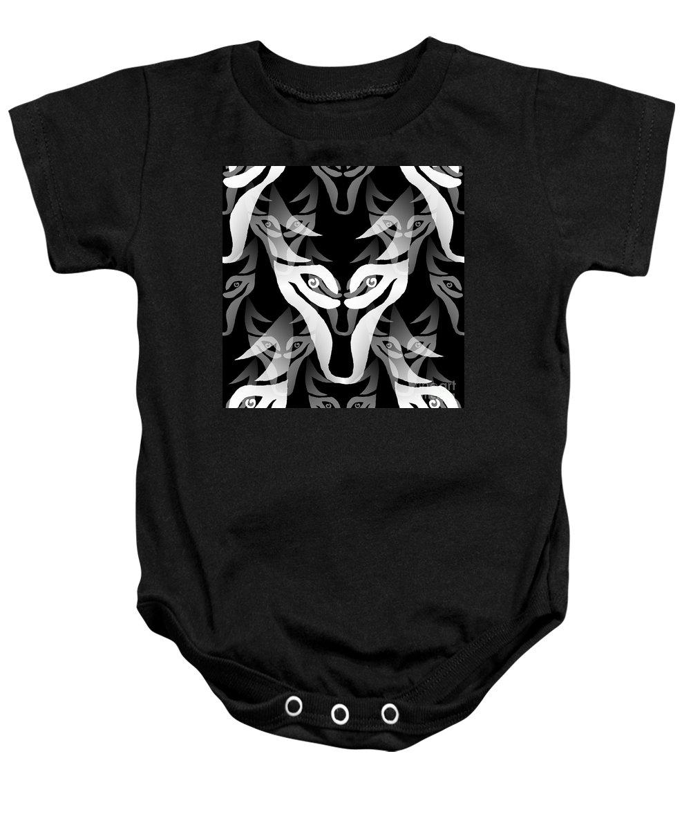 Wolf Baby Onesie featuring the digital art Wolf Mask by Barbara Moignard