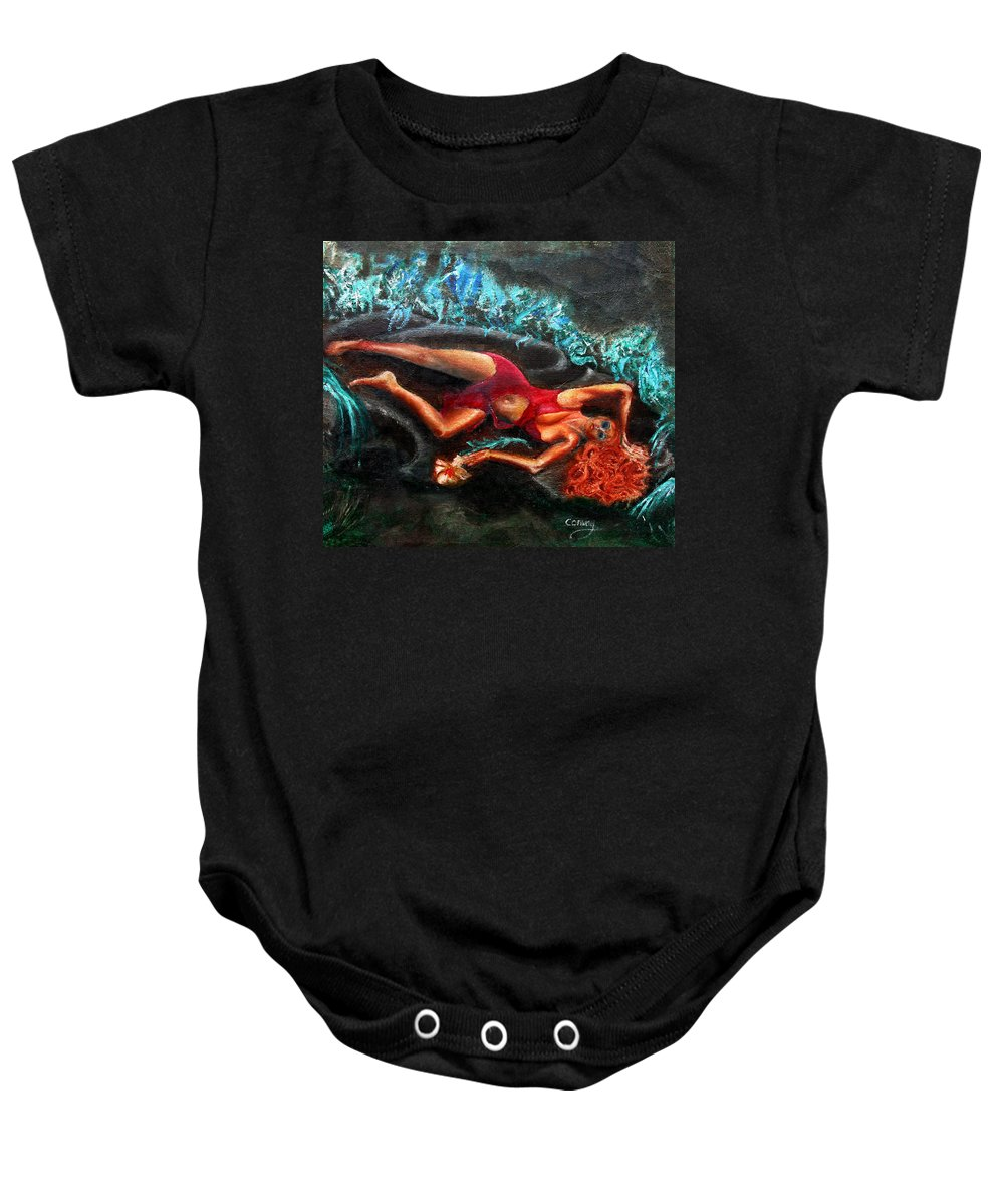 Females Baby Onesie featuring the painting Woman in a red dress holding a flower by Tom Conway