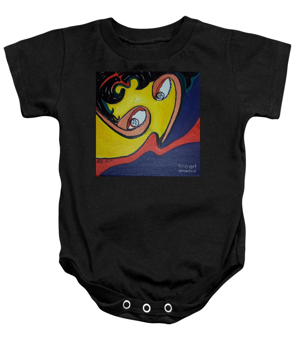 Abstract Figurative Paintings Baby Onesie featuring the painting Woman20 by Seon-Jeong Kim