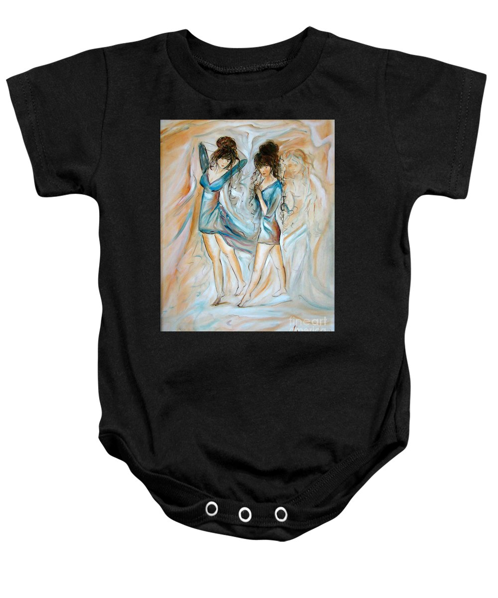 Contemporary Art Baby Onesie featuring the painting Wondering by Silvana Abel