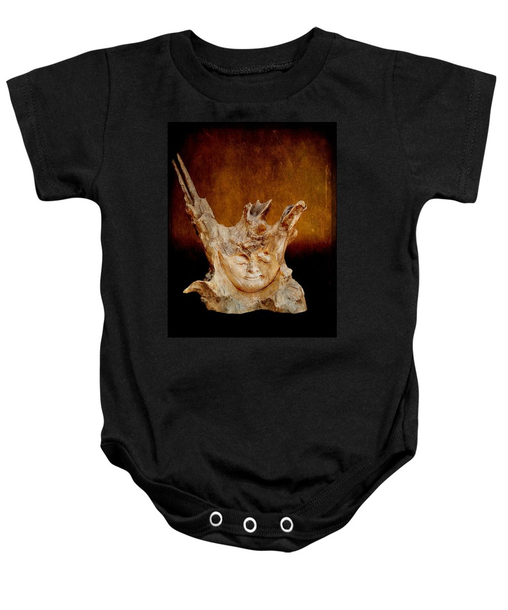 Photography Baby Onesie featuring the photograph Wood Carving by Davandra Cribbie
