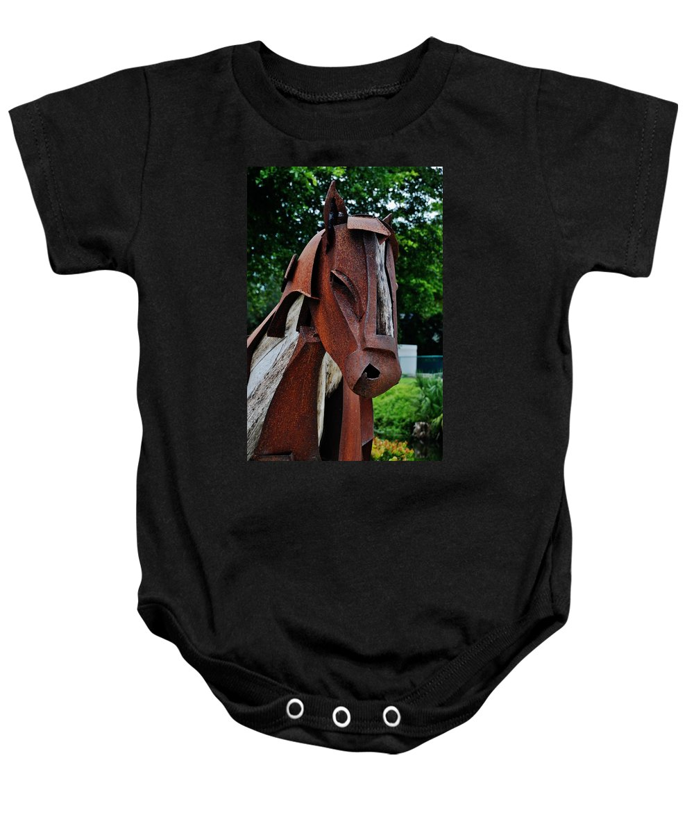 Horse Baby Onesie featuring the photograph Wooden Horse12 by Rob Hans