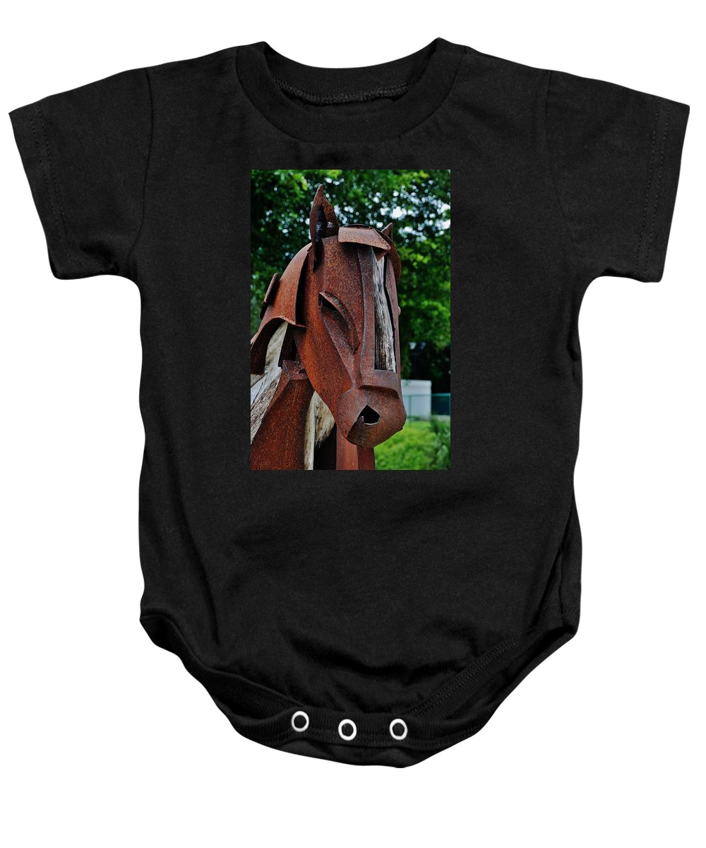 Horse Baby Onesie featuring the photograph Wooden Horse13 by Rob Hans