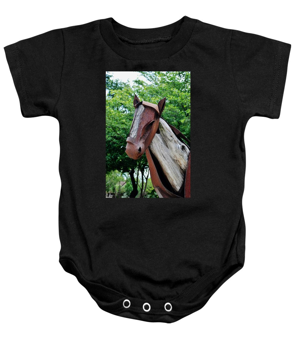 Horse Baby Onesie featuring the photograph Wooden Horse20 by Rob Hans