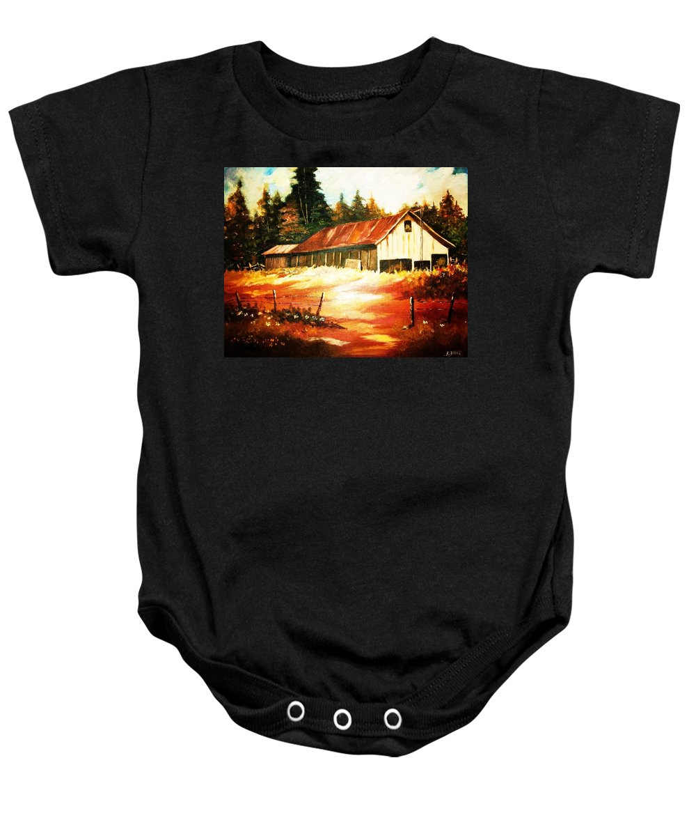 Woodland Baby Onesie featuring the painting Woodland Barn In Autumn by Al Brown