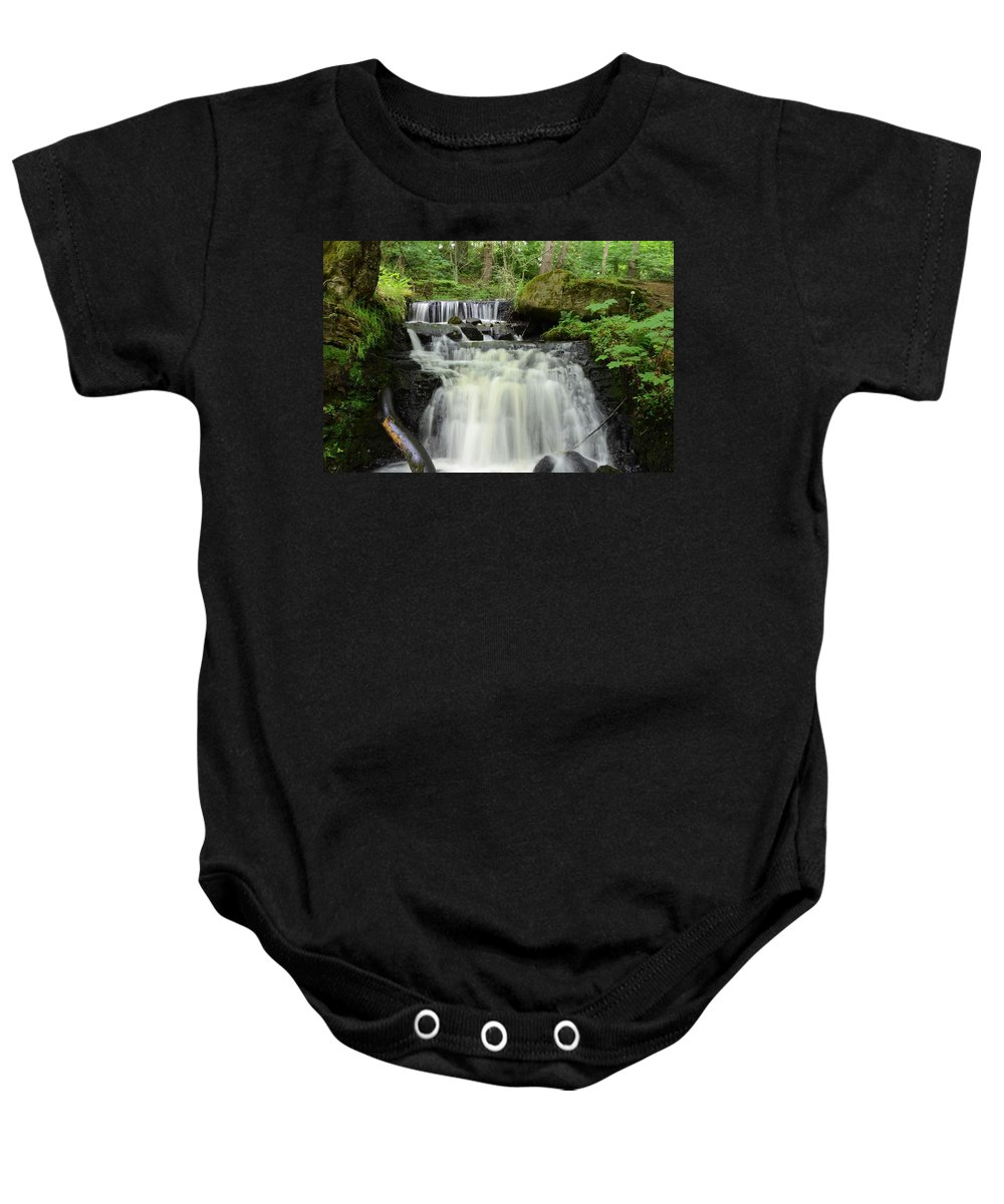 Wood Baby Onesie featuring the photograph Woodland Waterfall by Malcolm Snook