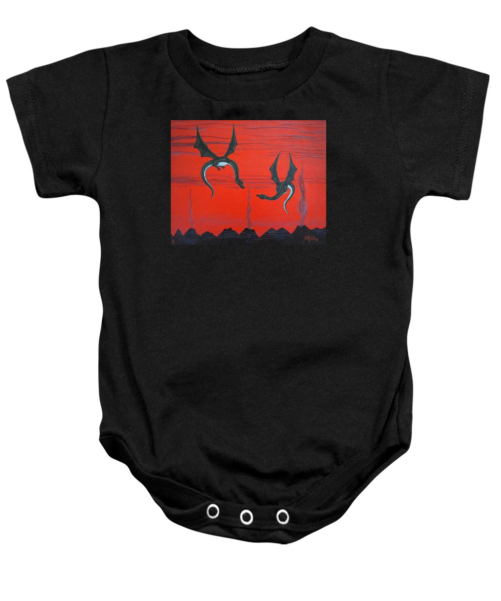 Dragons Baby Onesie featuring the painting Wooing Dragons by Glenn Scano