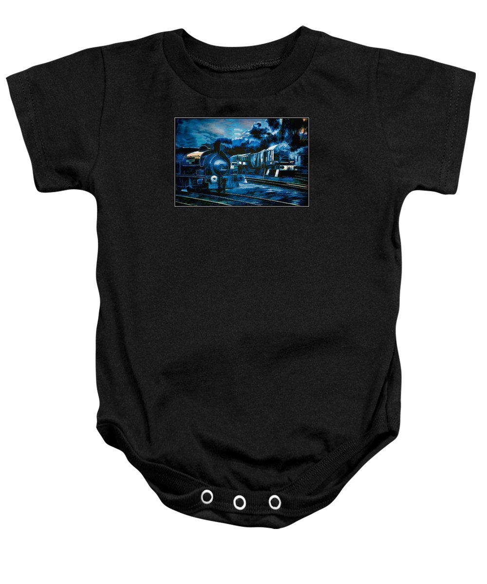 Trains Baby Onesie featuring the digital art Working All Hours by John Lynch