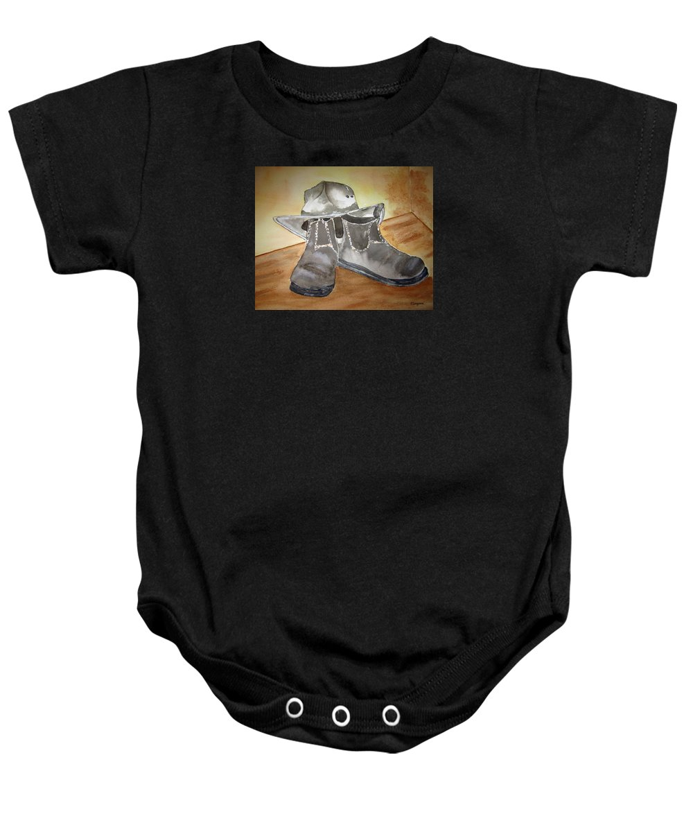Boots Baby Onesie featuring the painting Working On The Land by Elvira Ingram
