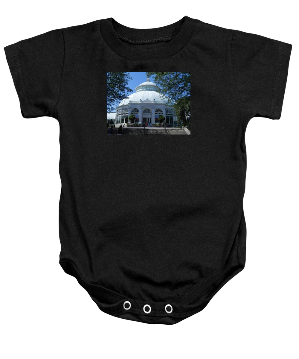 Photography Baby Onesie featuring the photograph World Of Plants Building At The New York Botanical Gardens by Chrisann Ellis