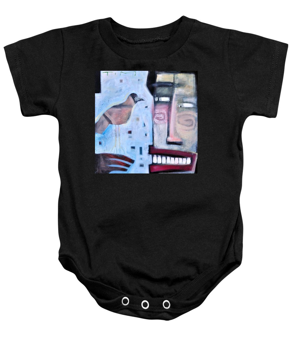 Man Baby Onesie featuring the painting Worth Two... by Tim Nyberg