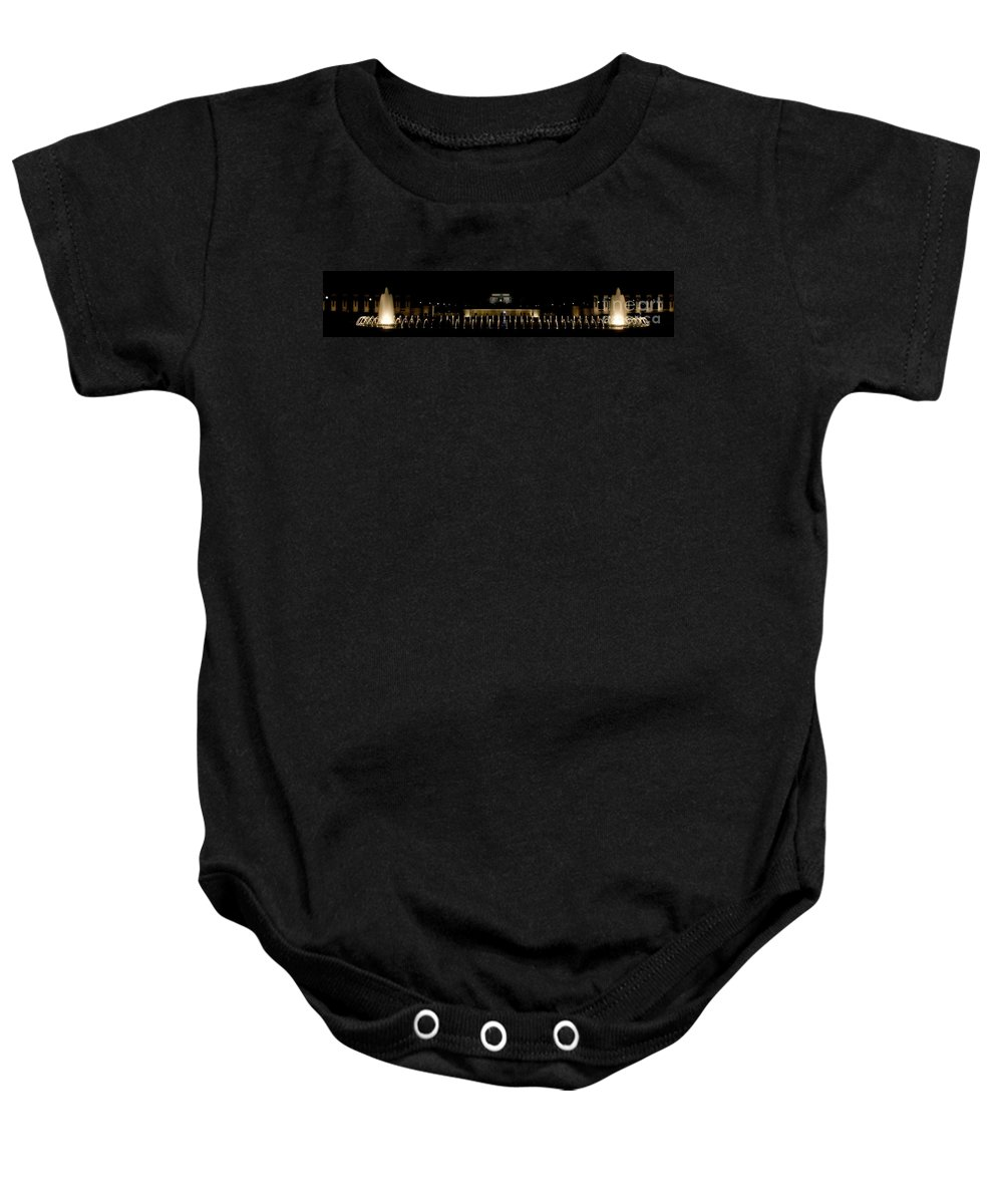 Washington Dc Baby Onesie featuring the photograph Ww2 And Lincoln Memorials by Tim Mulina