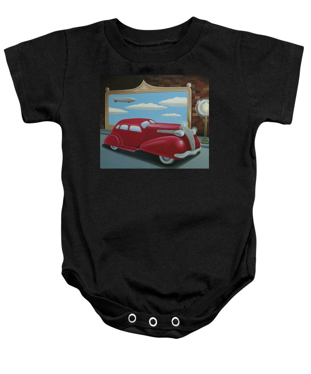 Automotive Baby Onesie featuring the painting Wyandotte Lasalle by Stuart Swartz