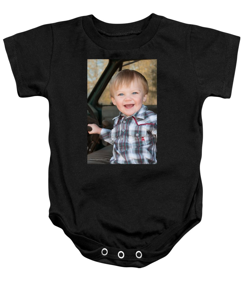 Baby Onesie featuring the photograph Wyatt Portrait 2 by Photos By Cassandra