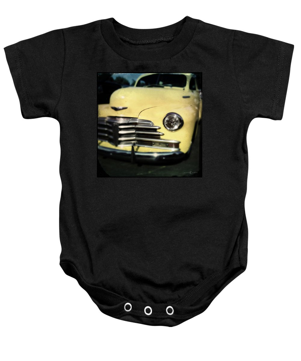 Classic Baby Onesie featuring the photograph Yellow 47 Chevrolet by Tim Nyberg
