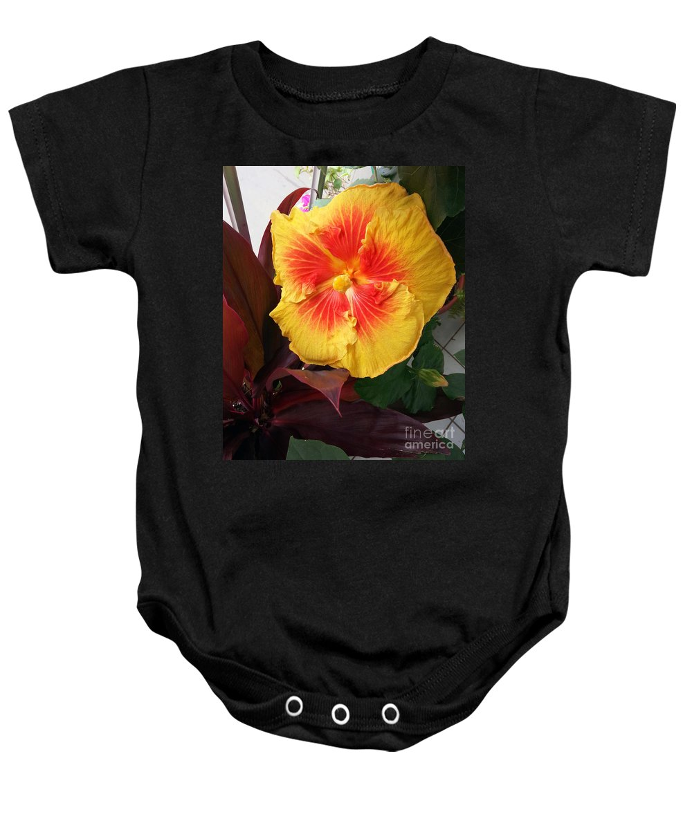 Flower Baby Onesie featuring the photograph Yellow And Red Hibiscus by Jay Milo