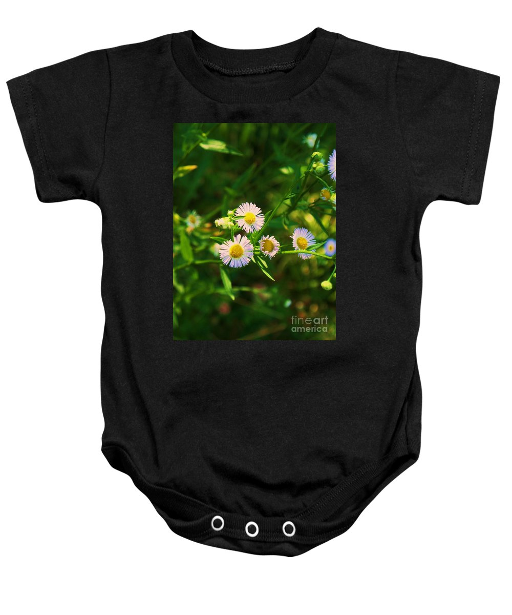 Nature Baby Onesie featuring the photograph Yellow And White Dasies by Eric Schiabor