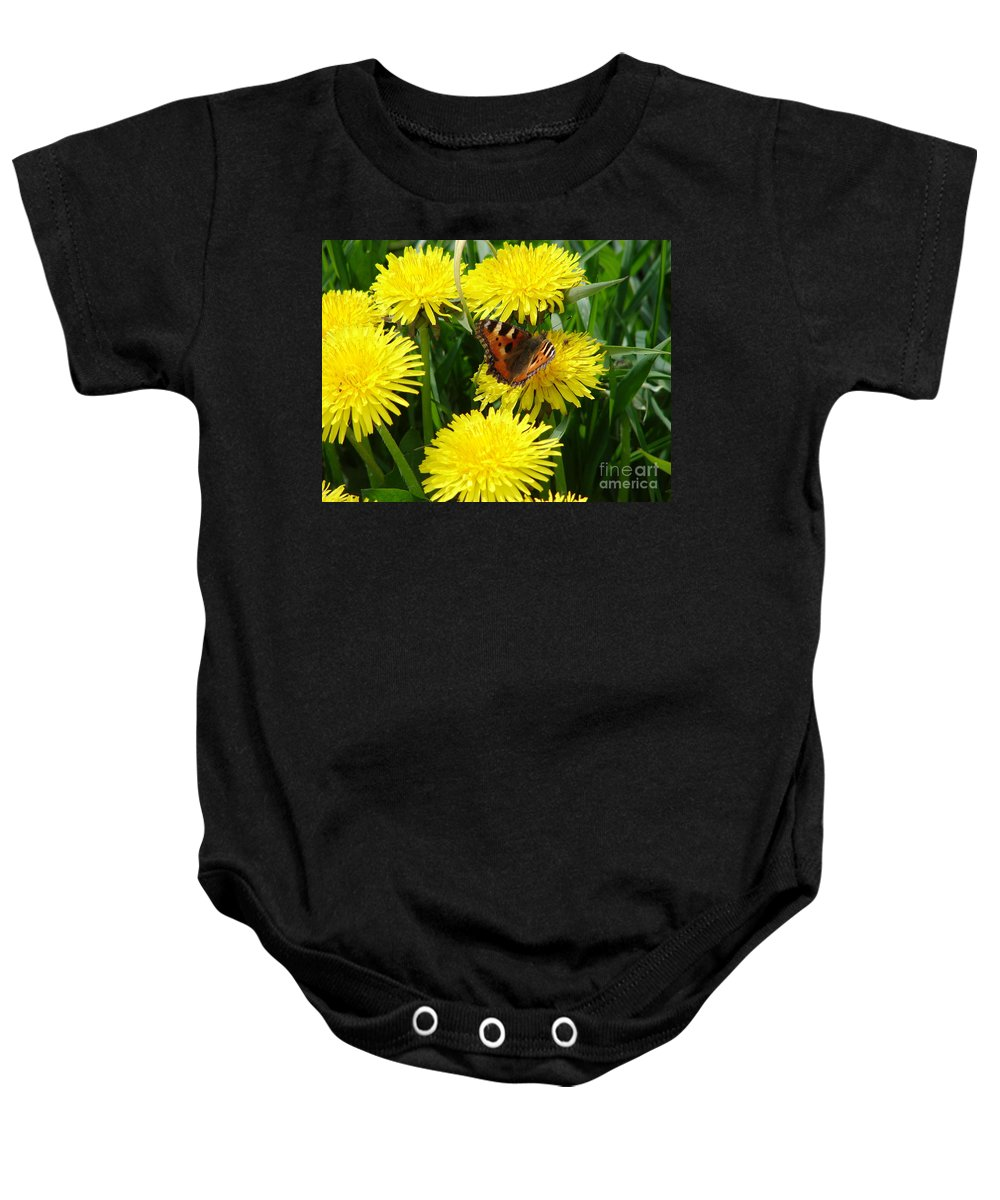 Butterfly Baby Onesie featuring the photograph Yellow Flowers by Carol Lynch