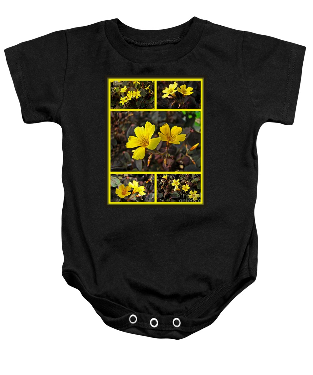 Yellow Baby Onesie featuring the photograph Yellow Oxalis - Oxalis Spiralis Vulcanicola by Mother Nature