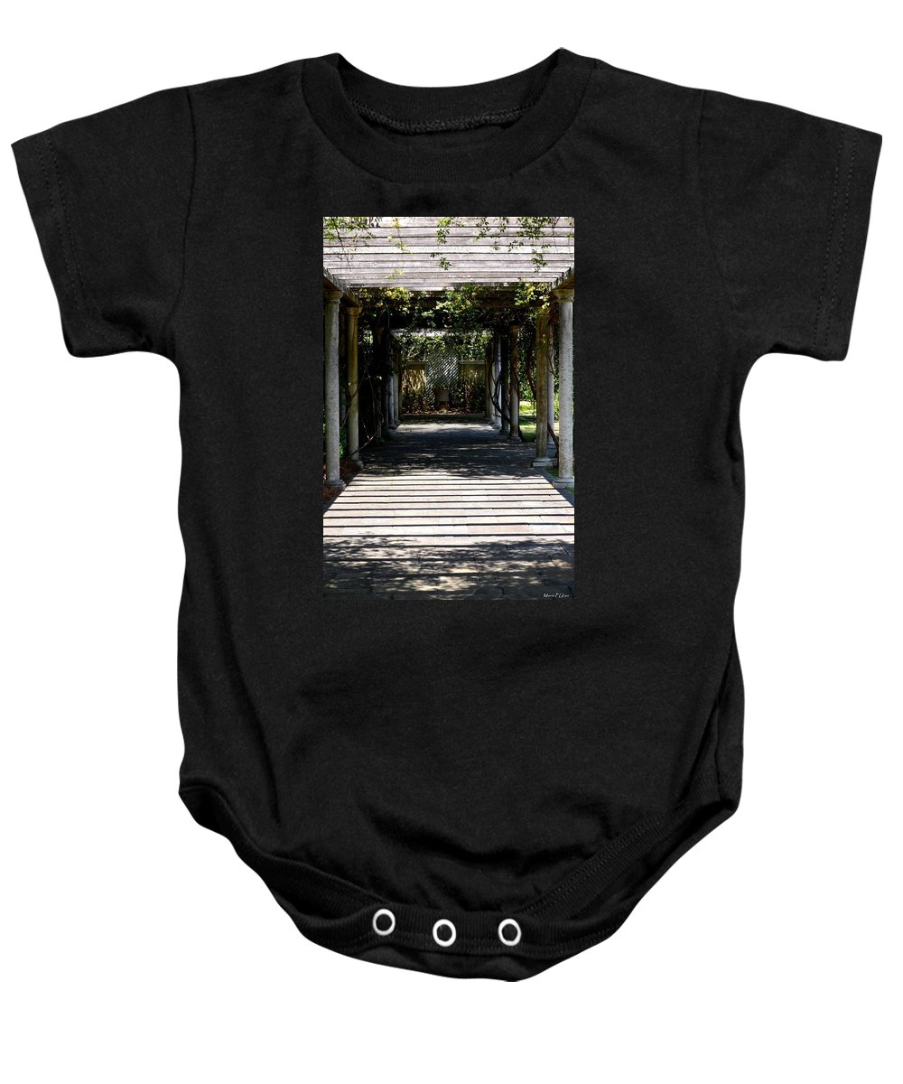 Yellow Rose Pergola Baby Onesie featuring the photograph Yellow Rose Pergola by Maria Urso