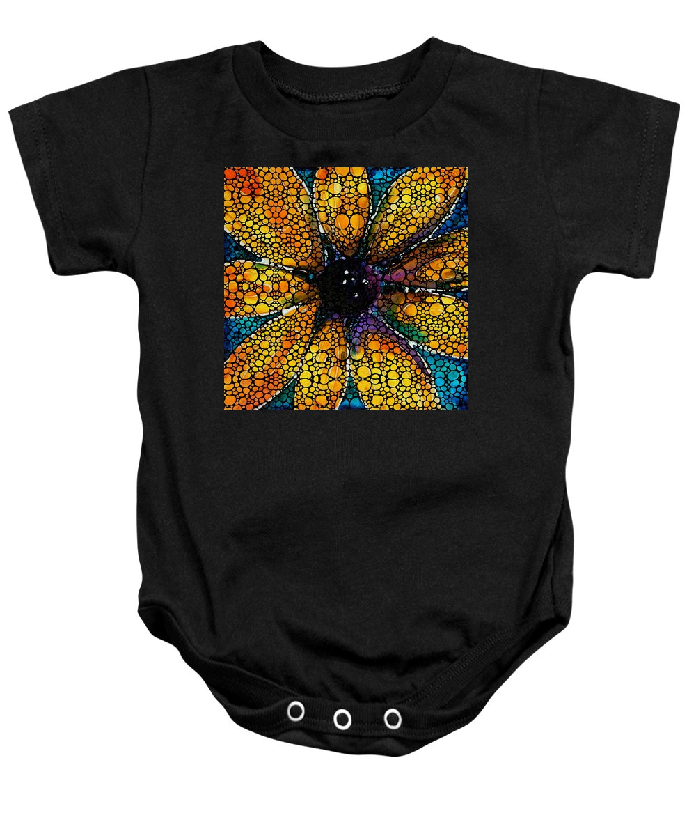 Sunflower Baby Onesie featuring the painting Yellow Sunflower - Stone Rock'd Art By Sharon Cummings by Sharon Cummings