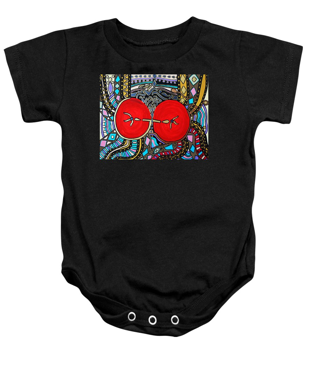 Metallic Baby Onesie featuring the painting Yin Yang by Barbara St Jean