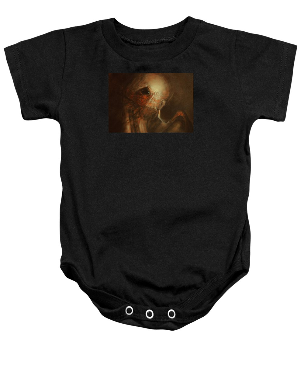 Dream Baby Onesie featuring the painting You Are Not Angel by Graszka Paulska