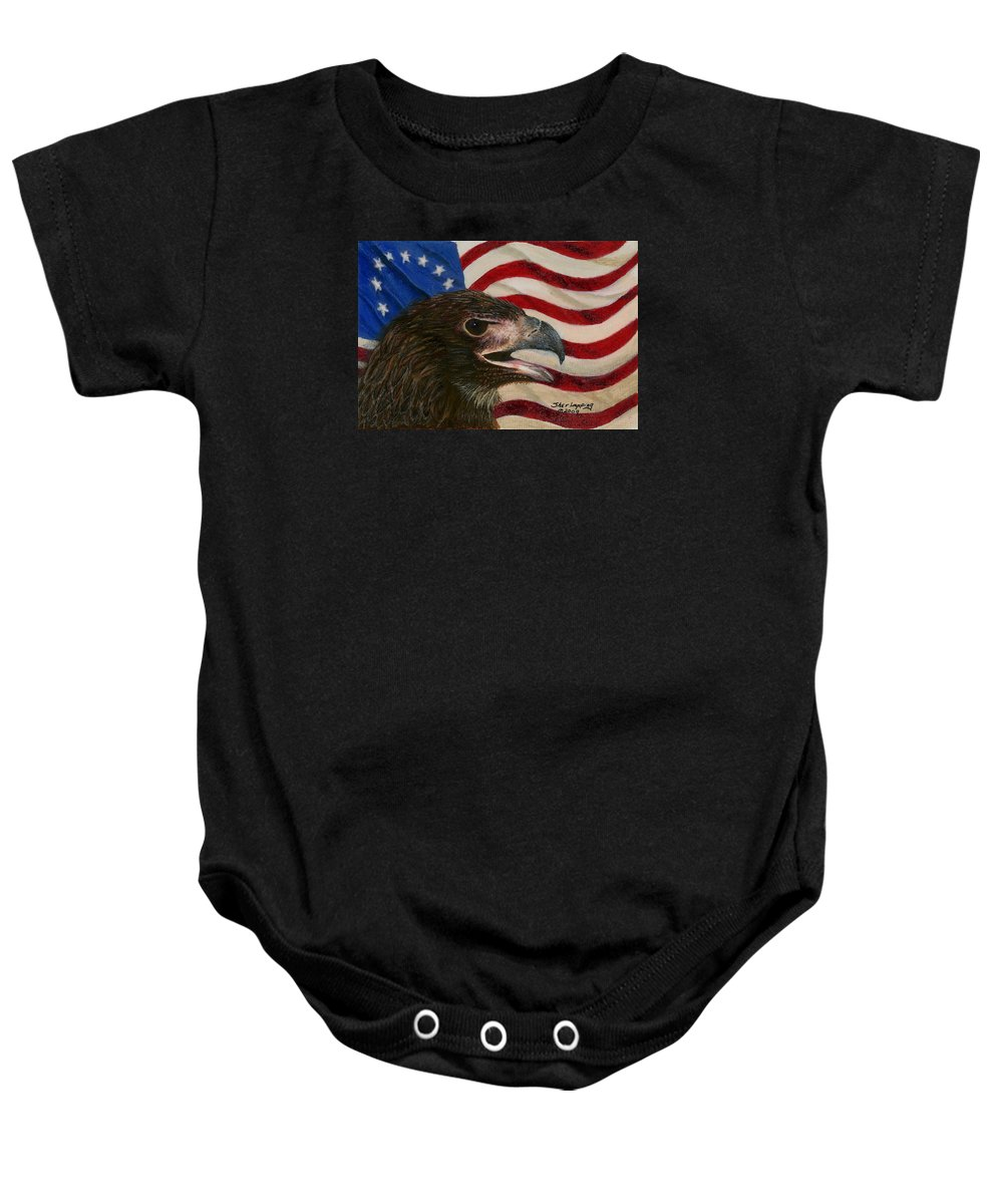 Eagle Baby Onesie featuring the painting Young Americans by Sherryl Lapping