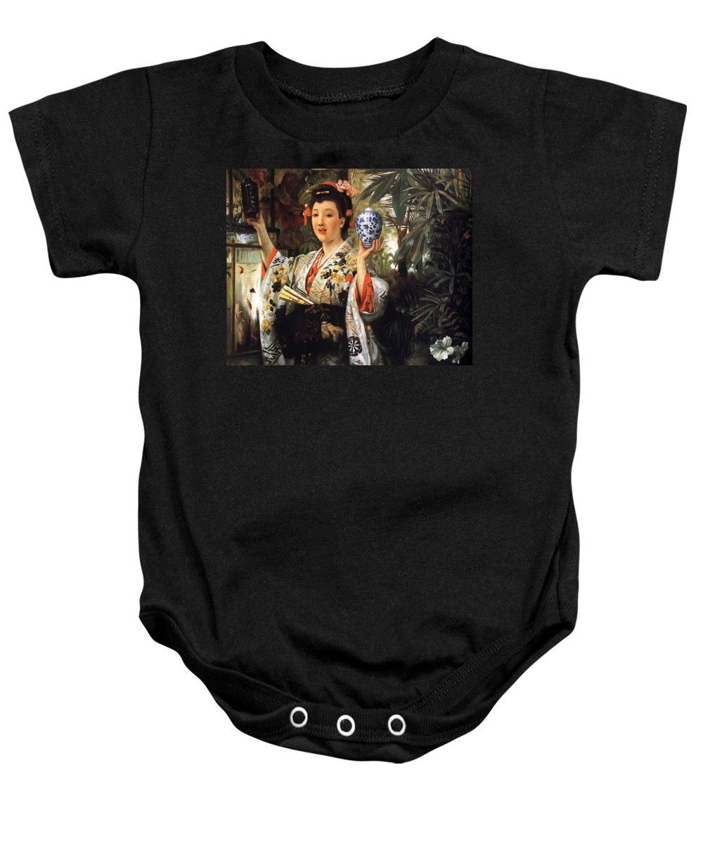 Young Japanese Lady Baby Onesie featuring the digital art Young Japanese Lady by James Jacques Joseph Tissot