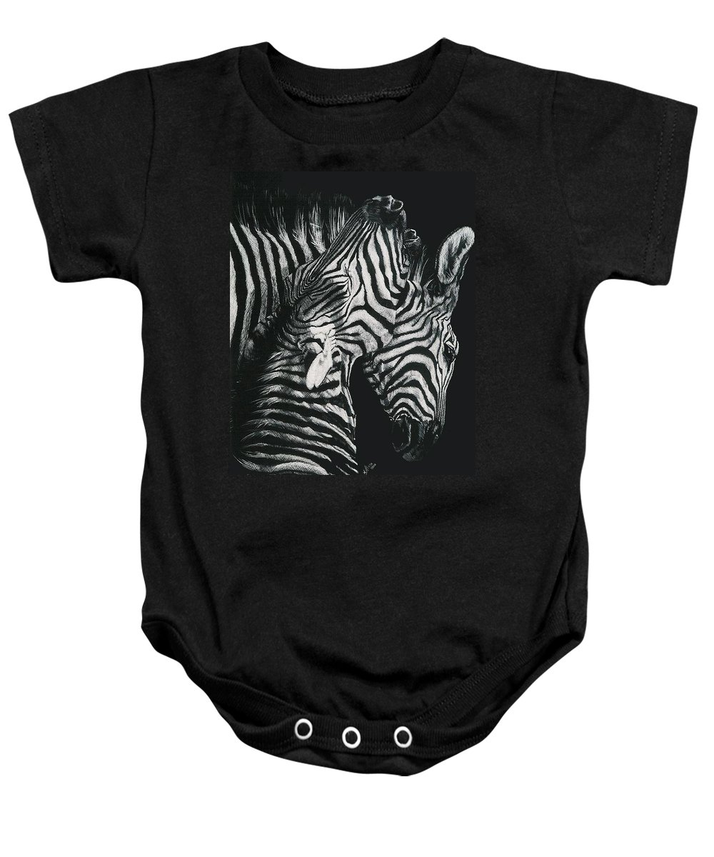 Art Baby Onesie featuring the drawing Youngbloods by Barbara Keith