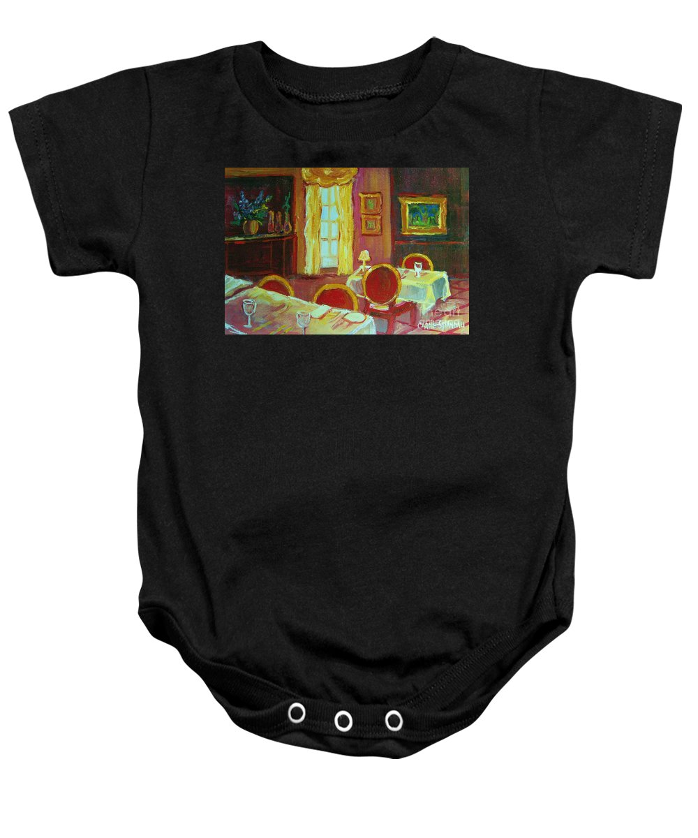 Interior Baby Onesie featuring the painting Your Table Awaits by Carole Spandau