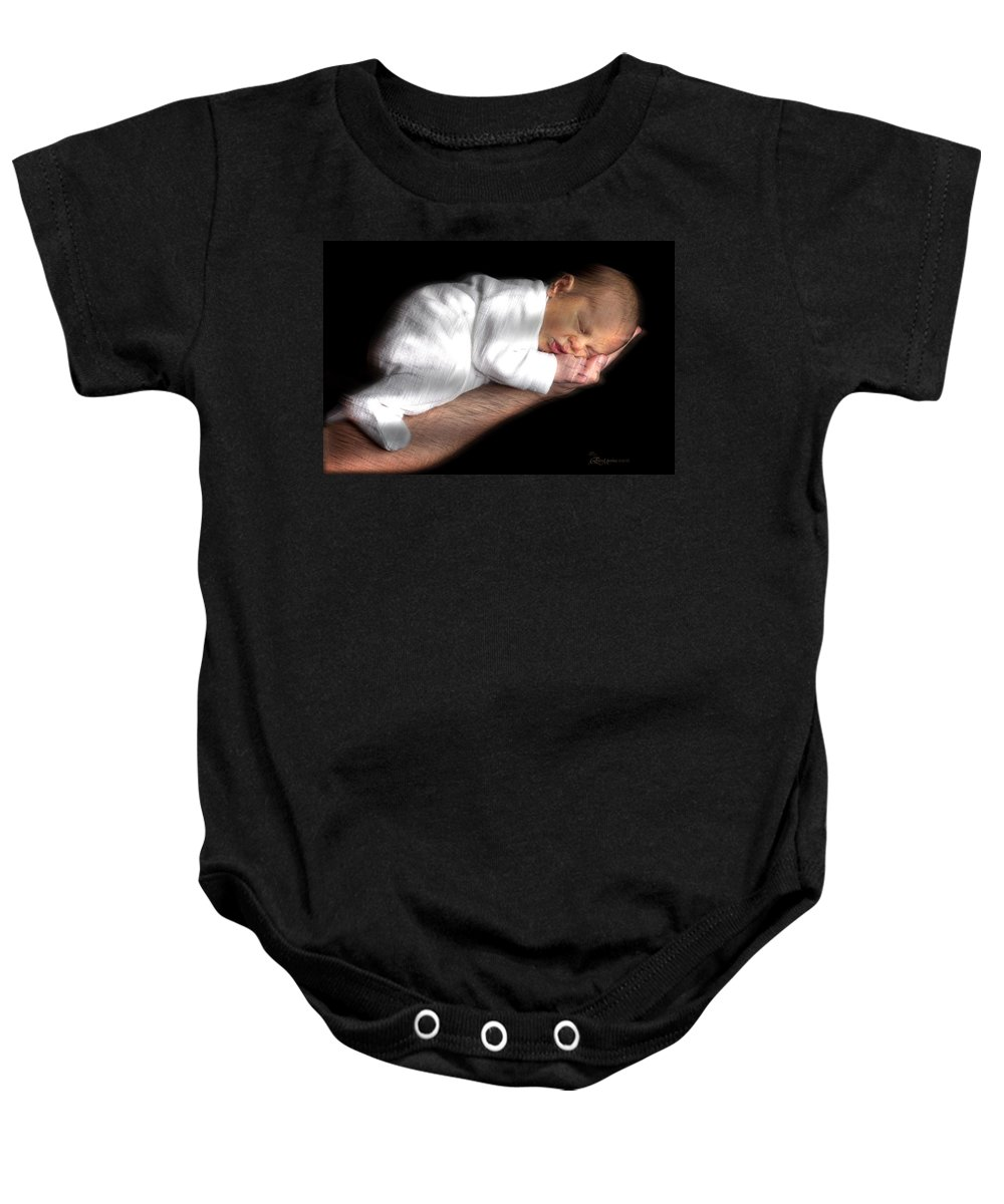 Baby Baby Onesie featuring the photograph You're In Good Hands - Featured In 'comfortable Art' And Notecard Possibilities Groups by Ericamaxine Price