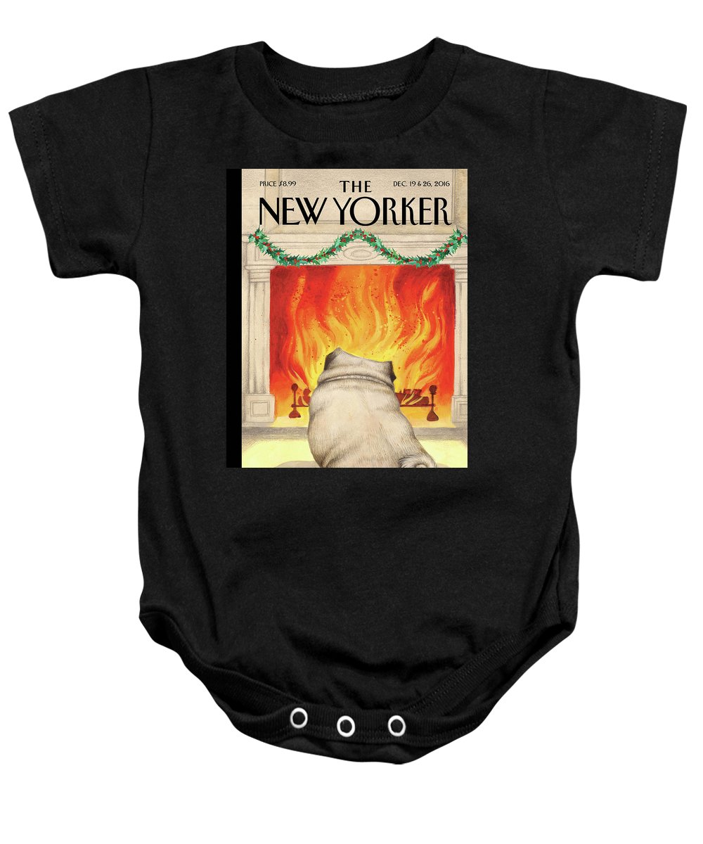Pug Baby Onesie featuring the painting Yule Dog by Ana Juan