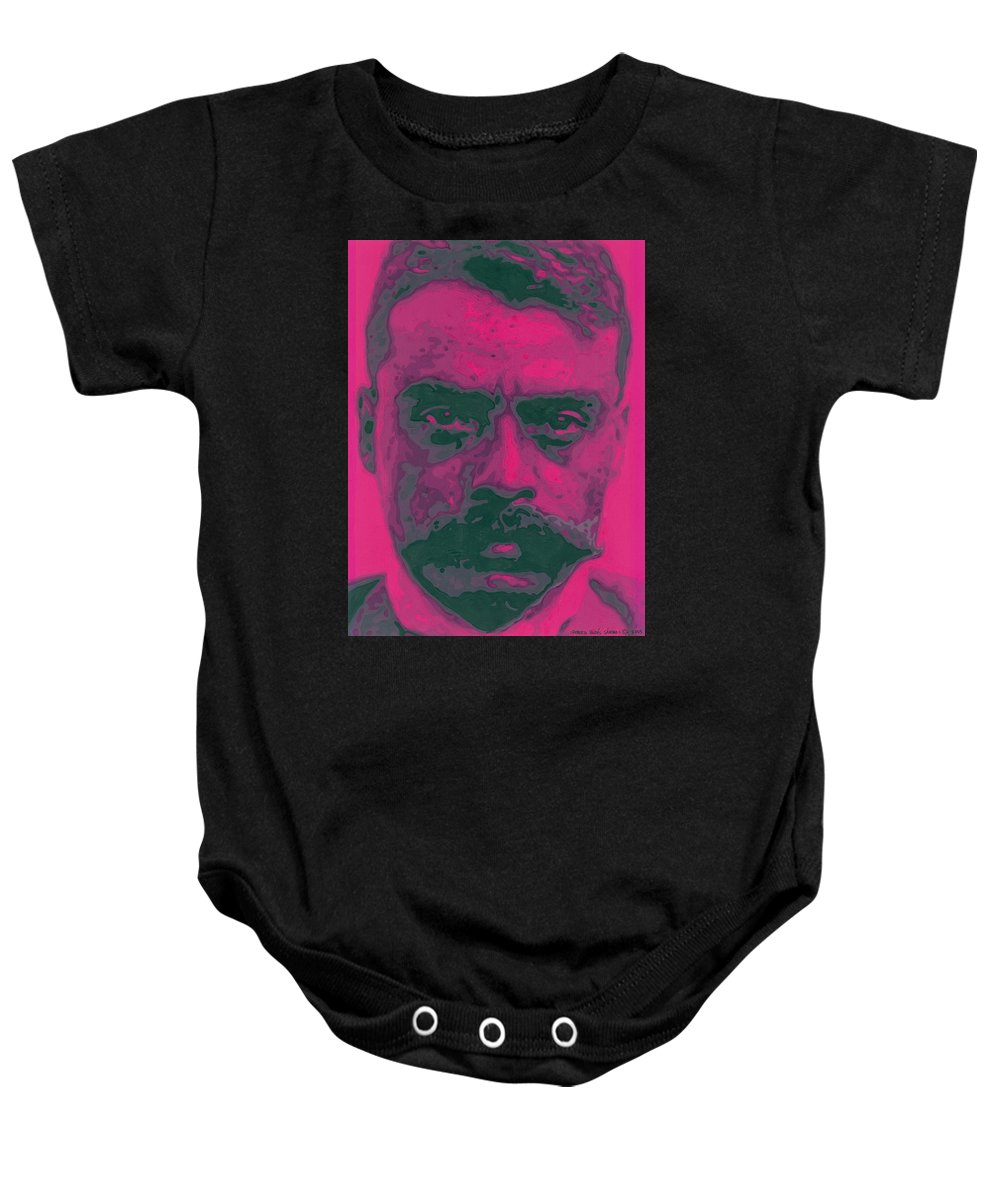 Emiliano Zapata Baby Onesie featuring the painting Zapata Intenso by Roberto Valdes Sanchez