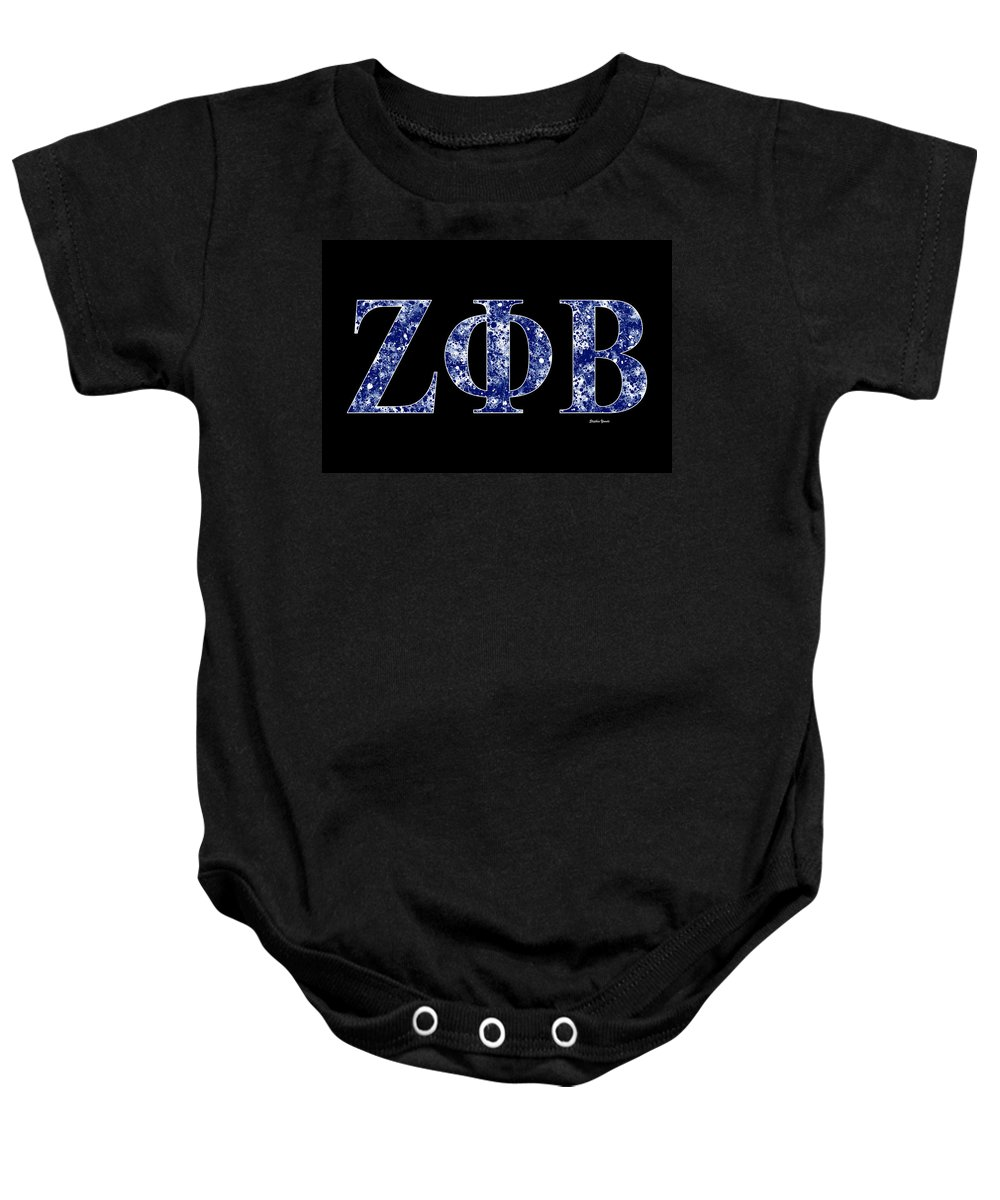 Zeta Phi Beta Baby Onesie featuring the digital art Zeta Phi Beta - Black by Stephen Younts