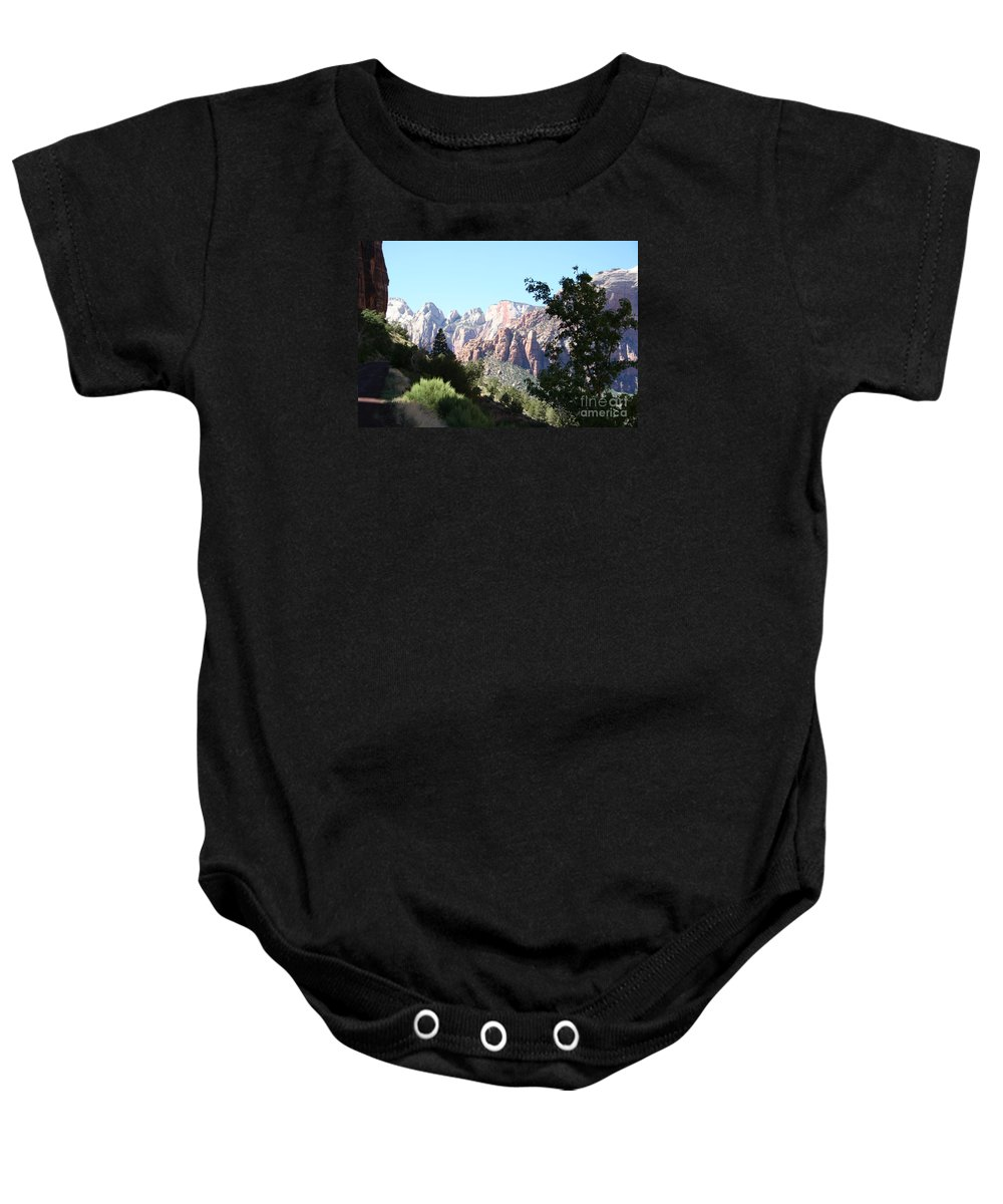 Canyon Baby Onesie featuring the photograph Zion Park Majestic View by Christiane Schulze Art And Photography