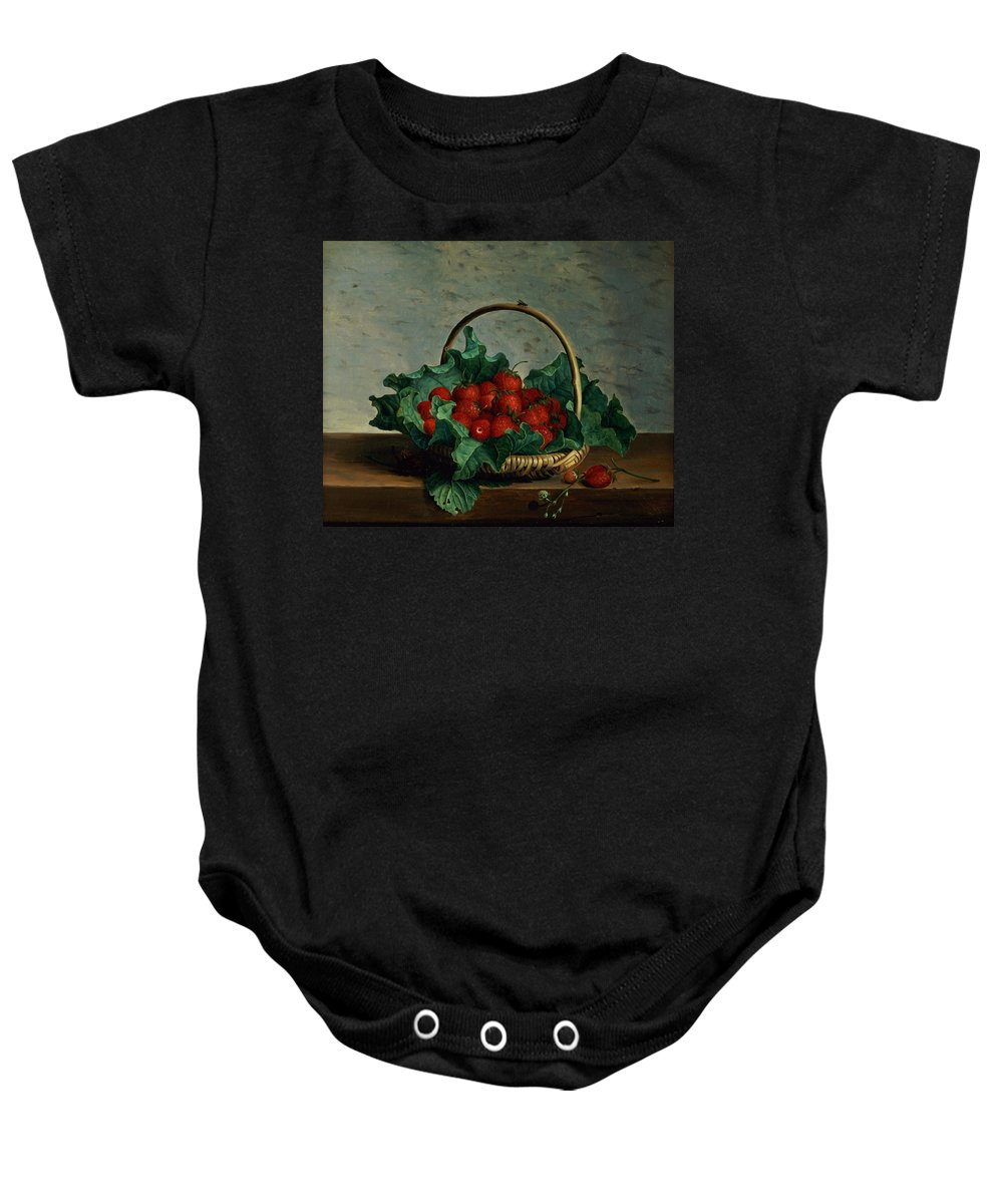 Fly Baby Onesie featuring the painting Basket Of Strawberries by Johan Laurents Jensen