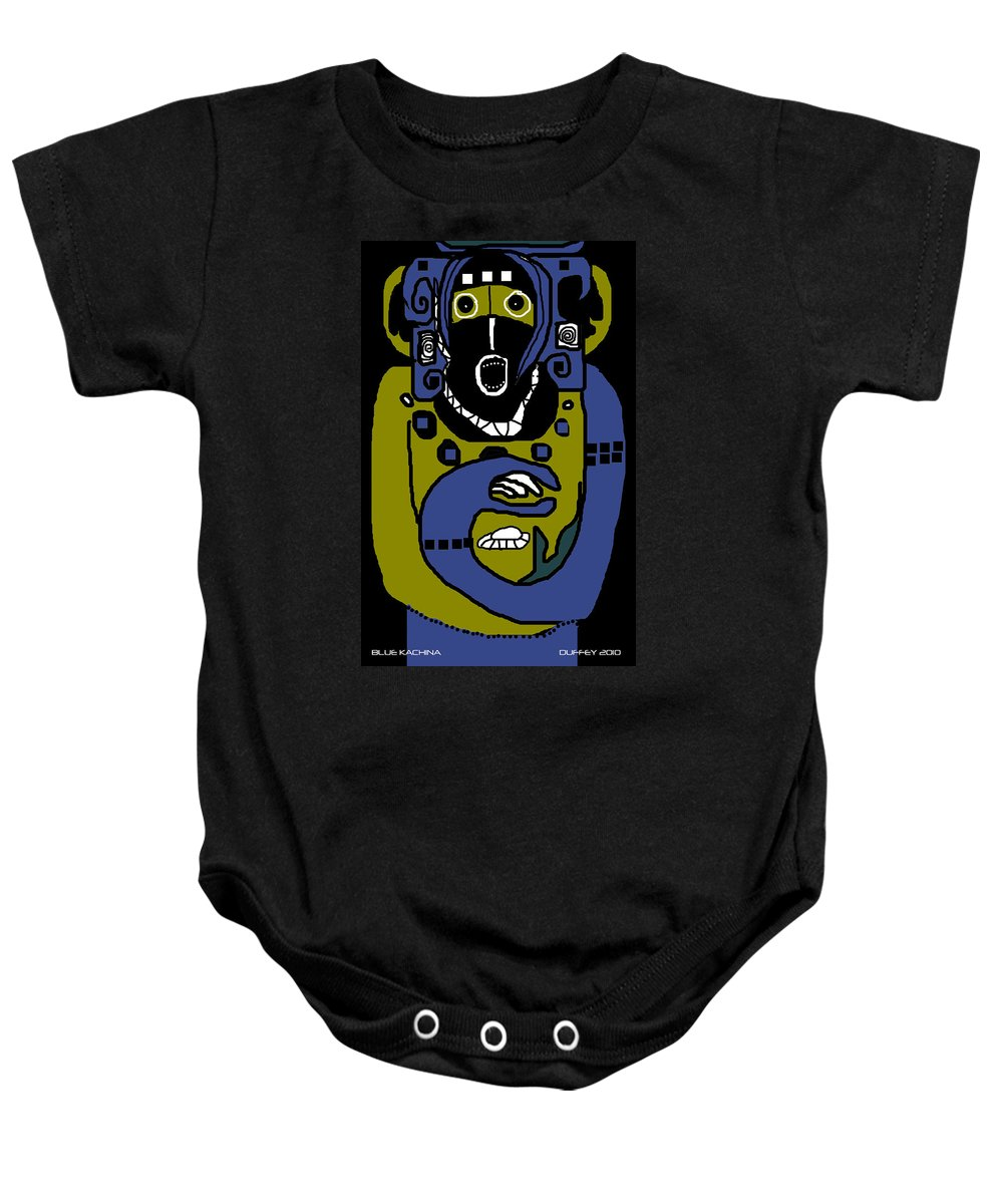Ancient Civilizations Baby Onesie featuring the photograph Blue Kachina by Doug Duffey