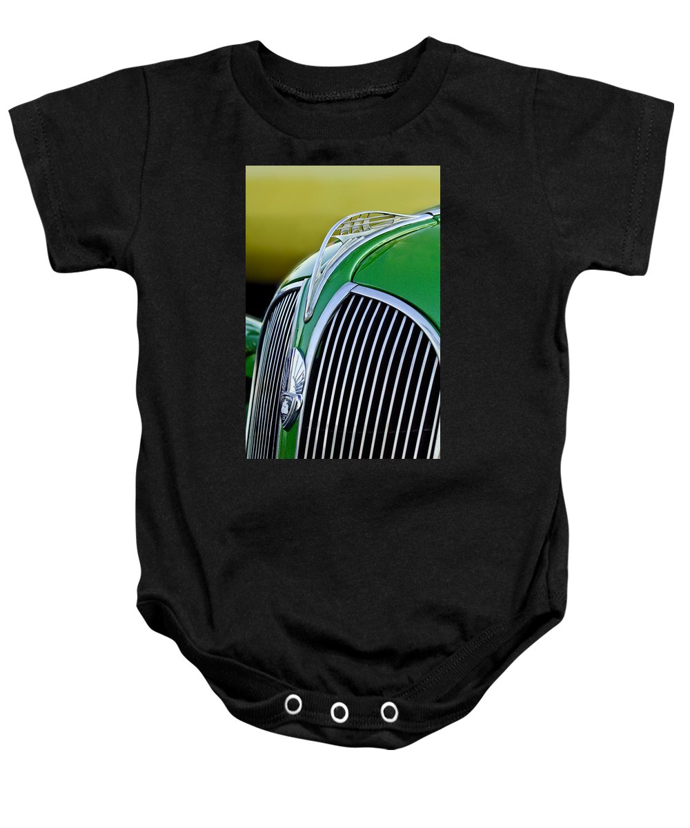 1937 Plymouth Baby Onesie featuring the photograph 1937 Plymouth Hood Ornament by Jill Reger