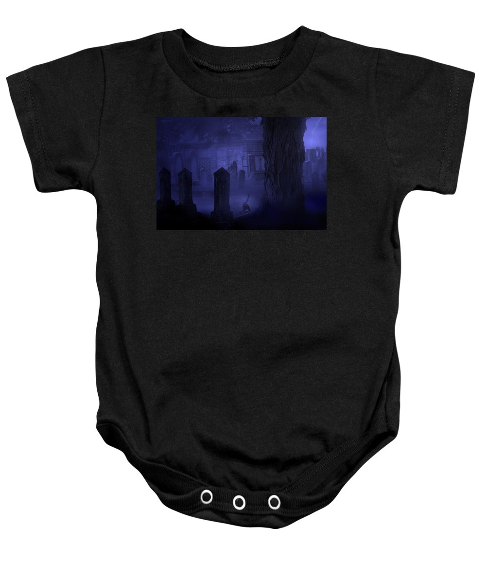 Night Baby Onesie featuring the photograph After Midnight by Ron Jones