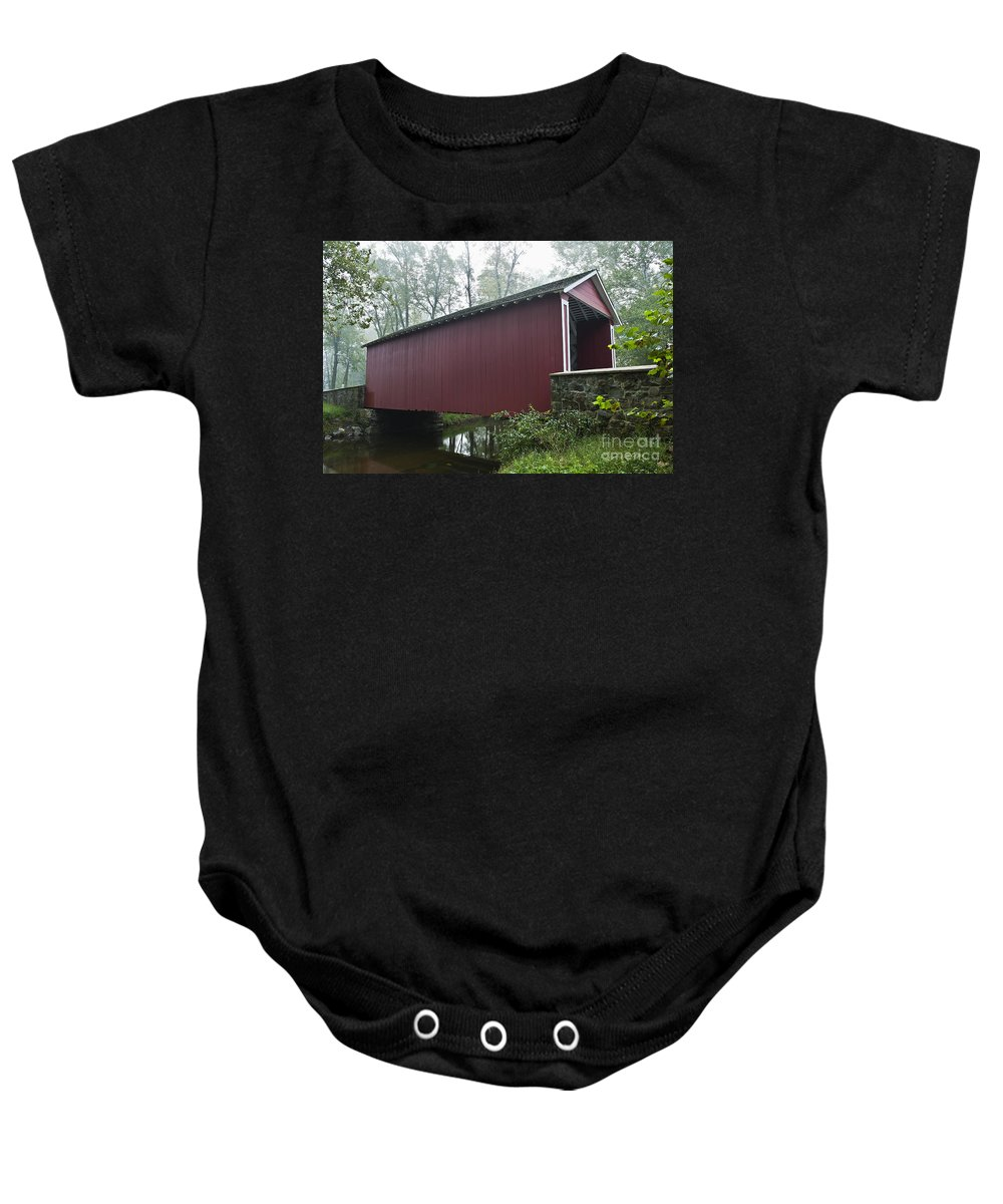 Ashland Baby Onesie featuring the photograph Ashland Covered Bridge by John Greim