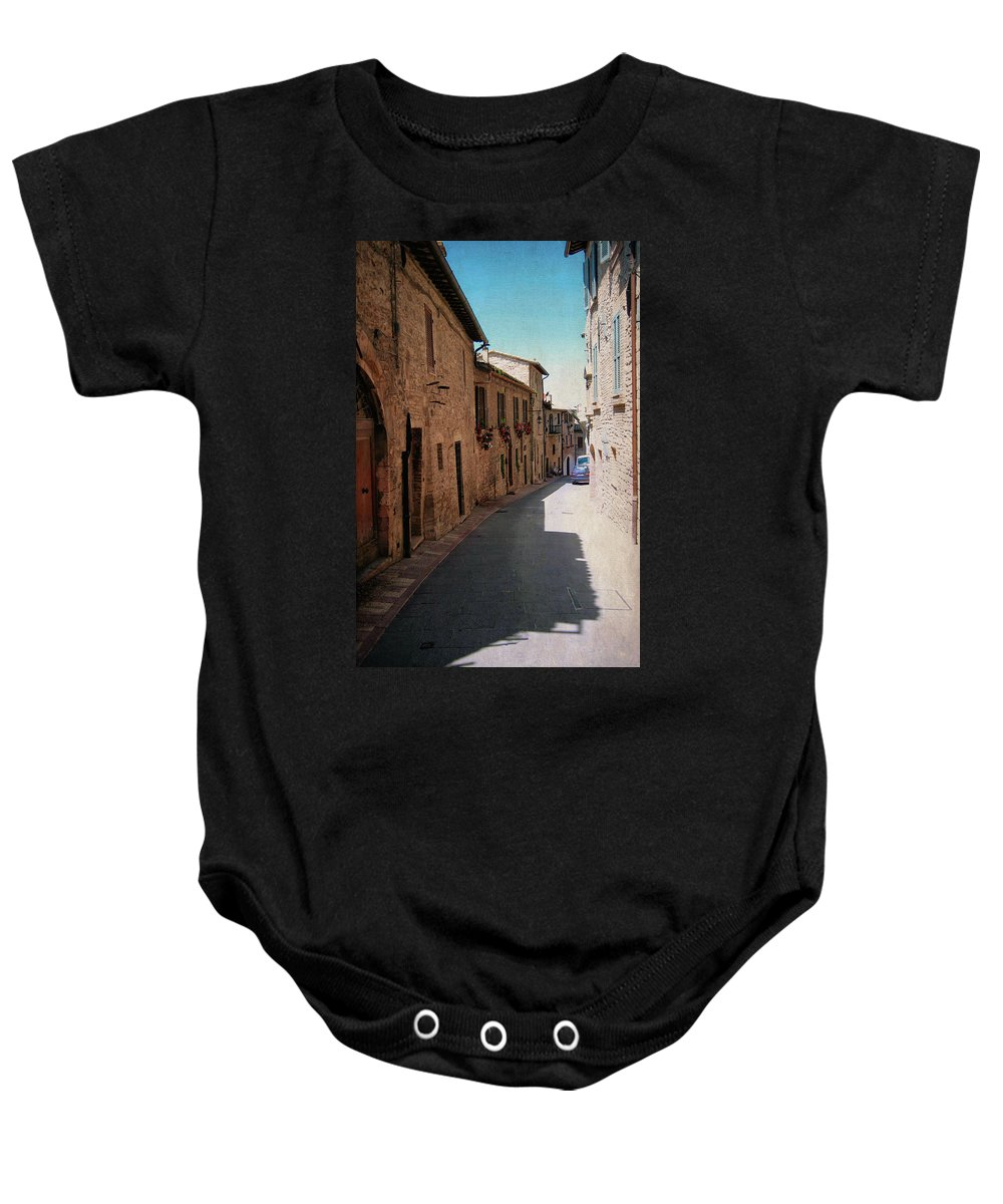 Assisi Baby Onesie featuring the photograph Assisi Italy by Linda Dunn