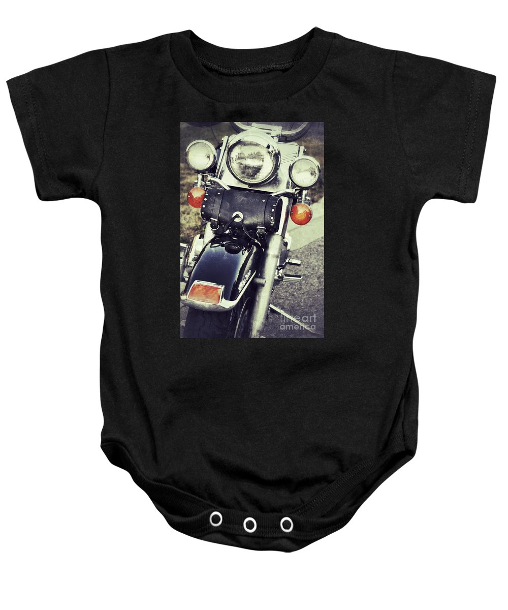 Motorcycle Baby Onesie featuring the photograph Bike by Traci Cottingham